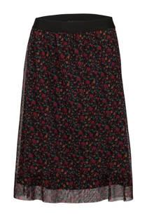 La Ligna gebloemde rok zwart