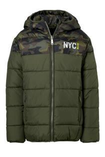 C&A Here & There omkeerbare winterjas met camouflageprint kaki (jongens)