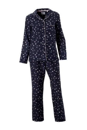 flanellen pyjama met print blauw