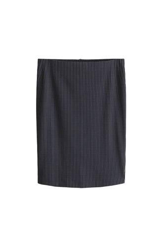 rok met krijtstreep donkerblauw