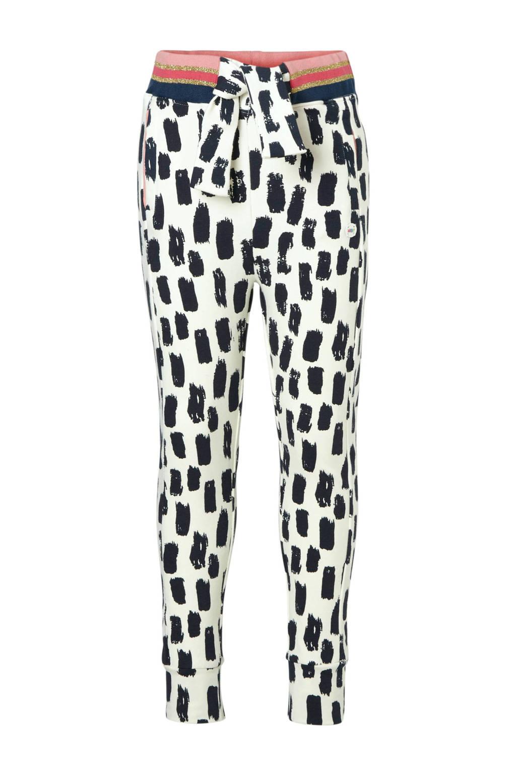 NOP broek met allover print ecru, Ecru/zwart
