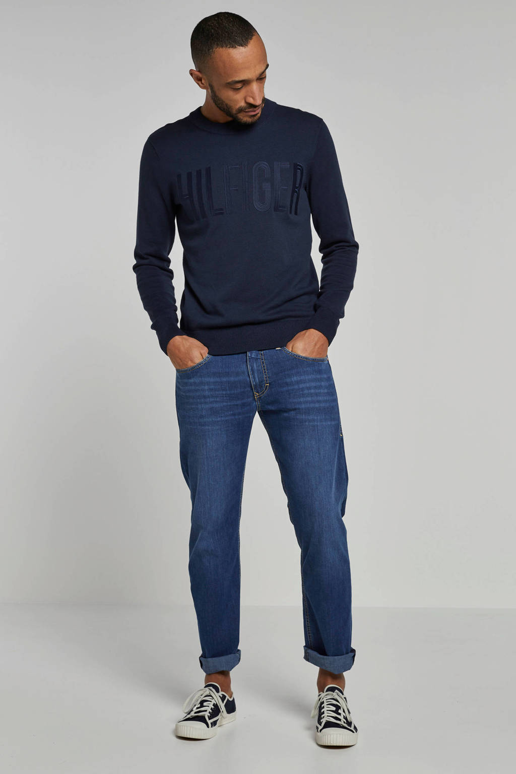 MAC tapered fit jeans met borduursels, Lichtblauw