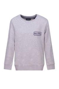 Marc O'Polo sweater met logo grijs melange, Grijs melange