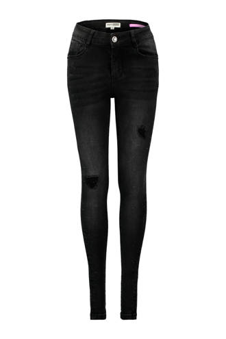 skinny jeans met slijtage details zwart