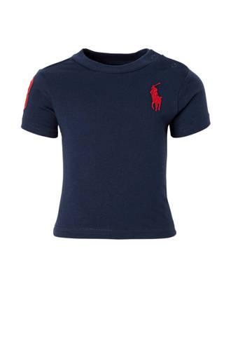 baby T-shirt met logo borduursel donkerblauw