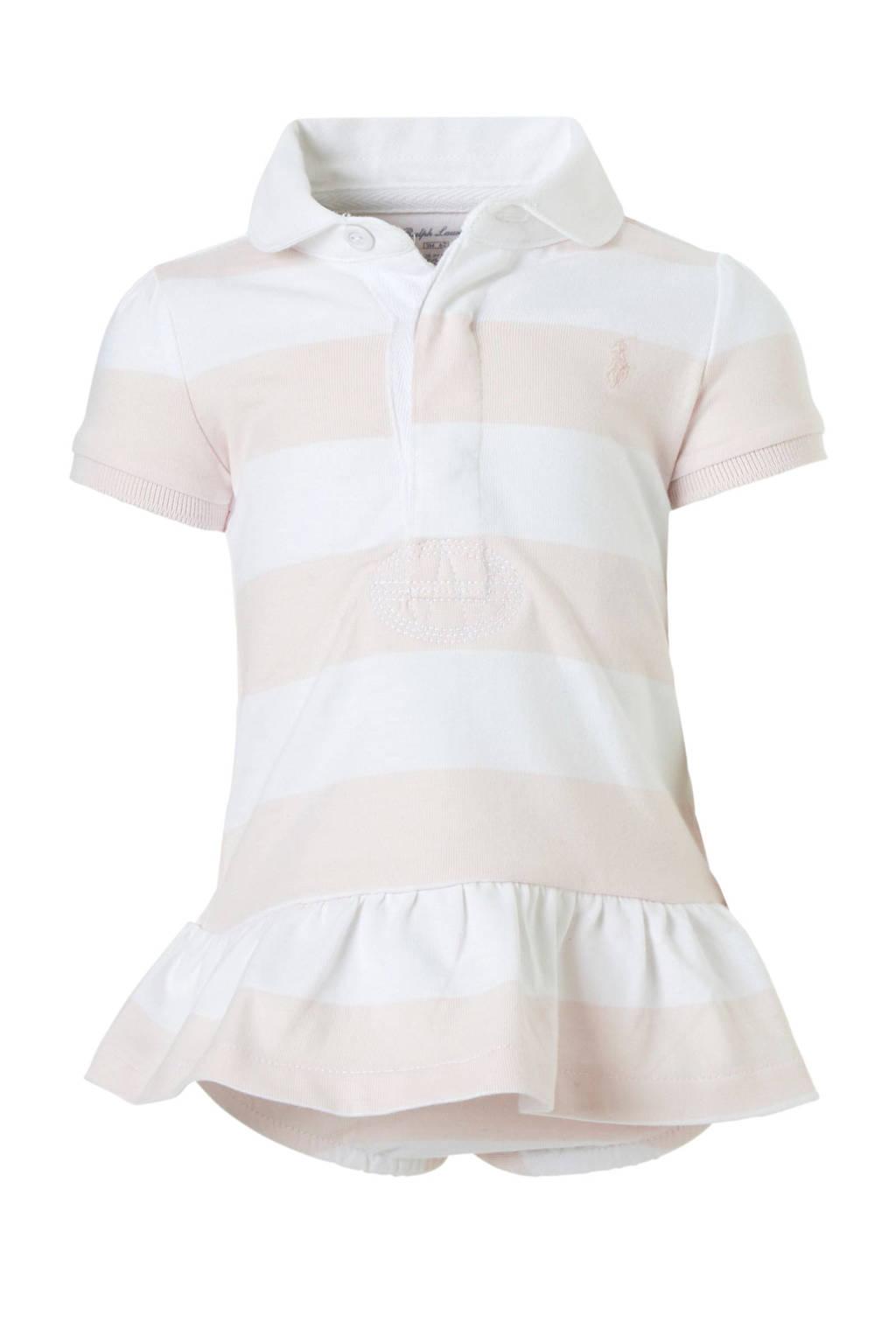POLO Ralph Lauren gestreepte baby jurk met broek roze, Lichtroze/wit
