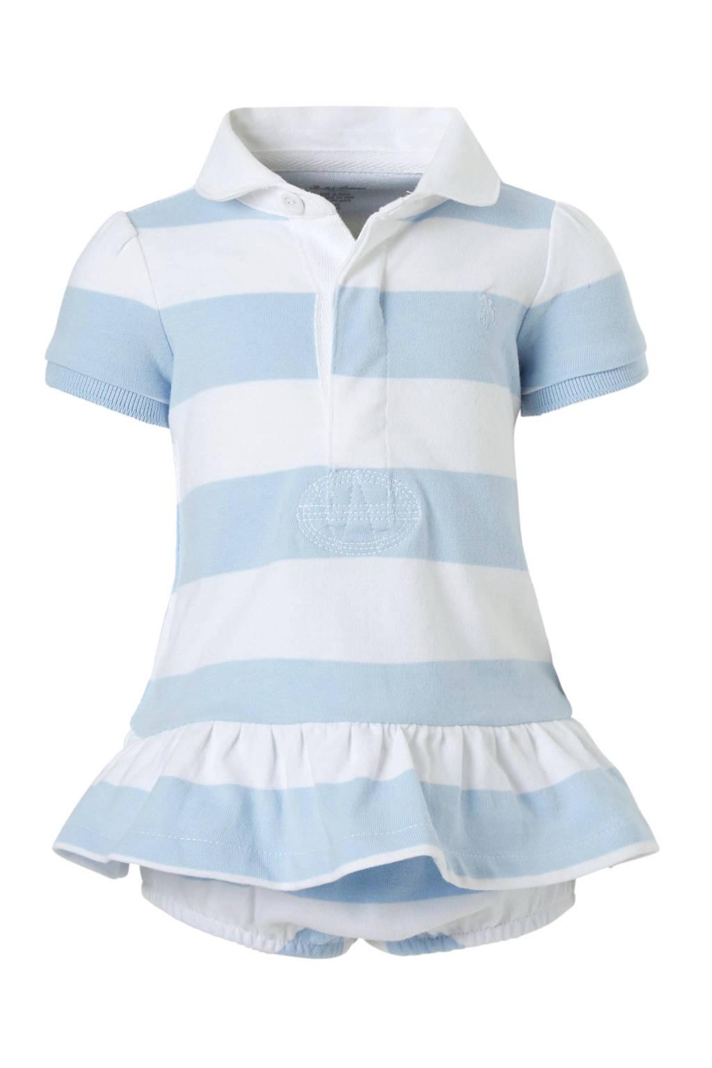 POLO Ralph Lauren gestreepte baby jurk met broek lichtblauw, Lichtblauw/wit