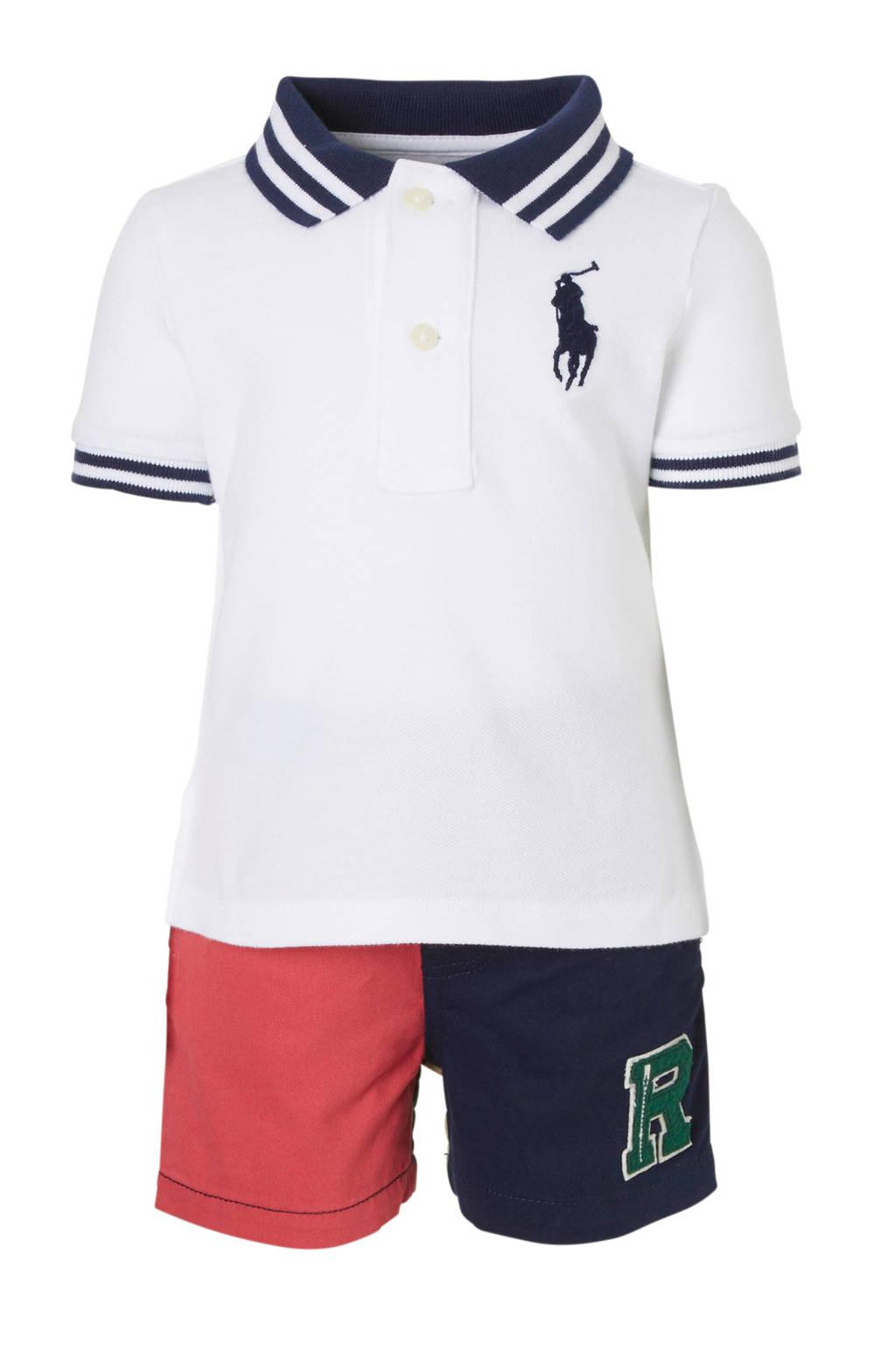 POLO Ralph Lauren baby polo + short, Wit/blauw/rood/beige/groen