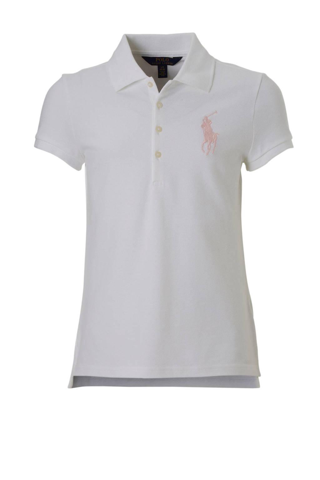 POLO Ralph Lauren polo met logo borduursel wit, Wit