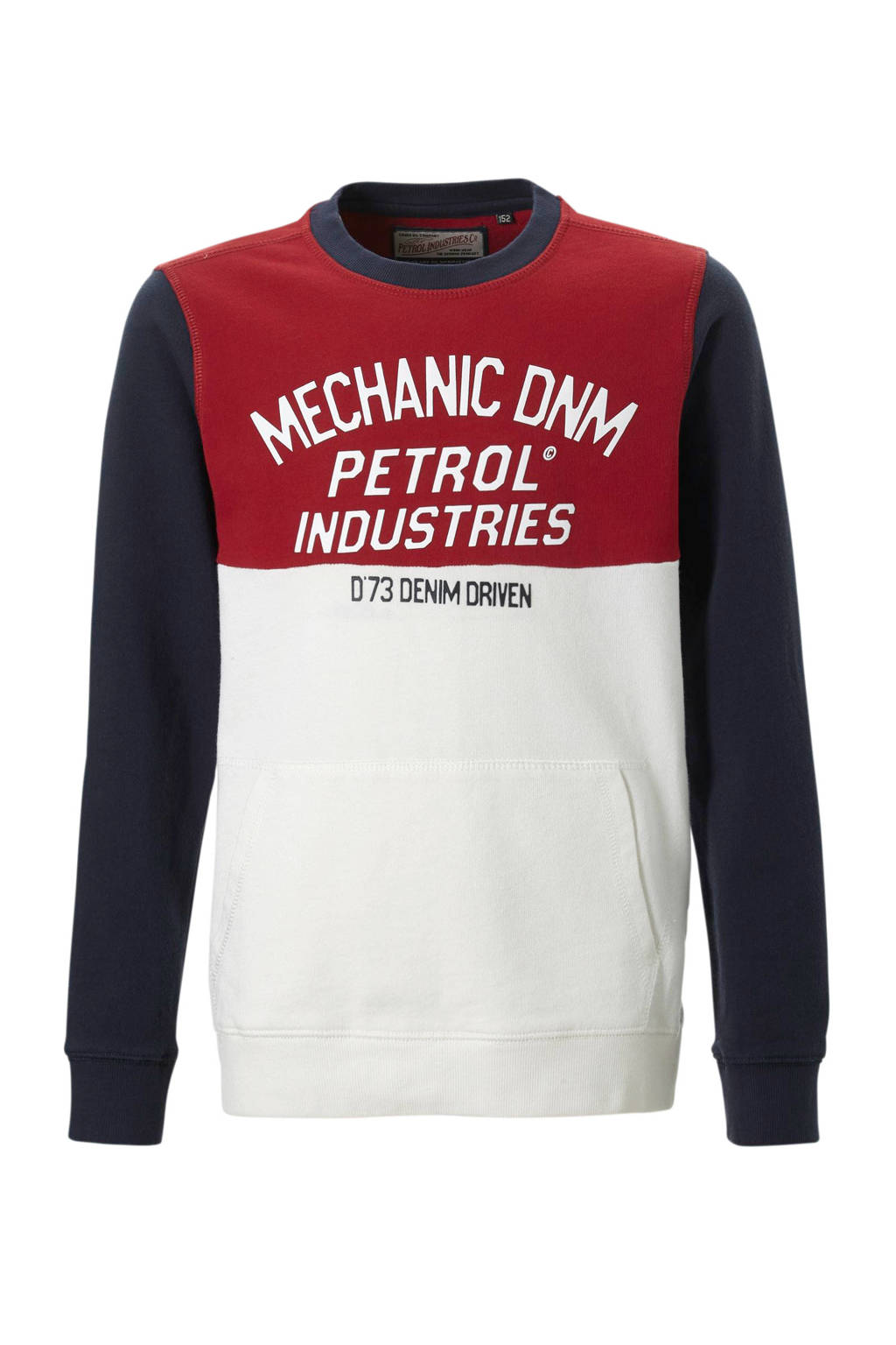 Petrol Industries sweater met tekst blauw, Rood/donkerblauw/wit