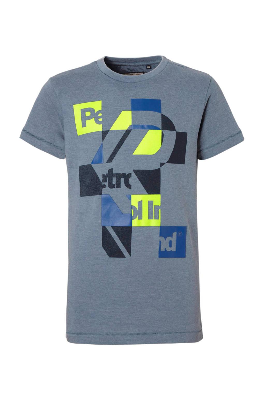 Petrol Industries T-shirt met print jeansblauw, Jeansblauw
