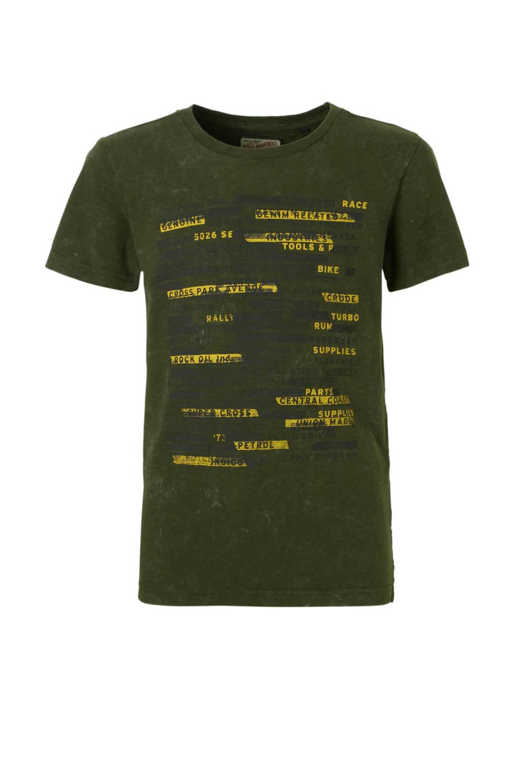Petrol Industries T-shirt met print groen, Donkergroen