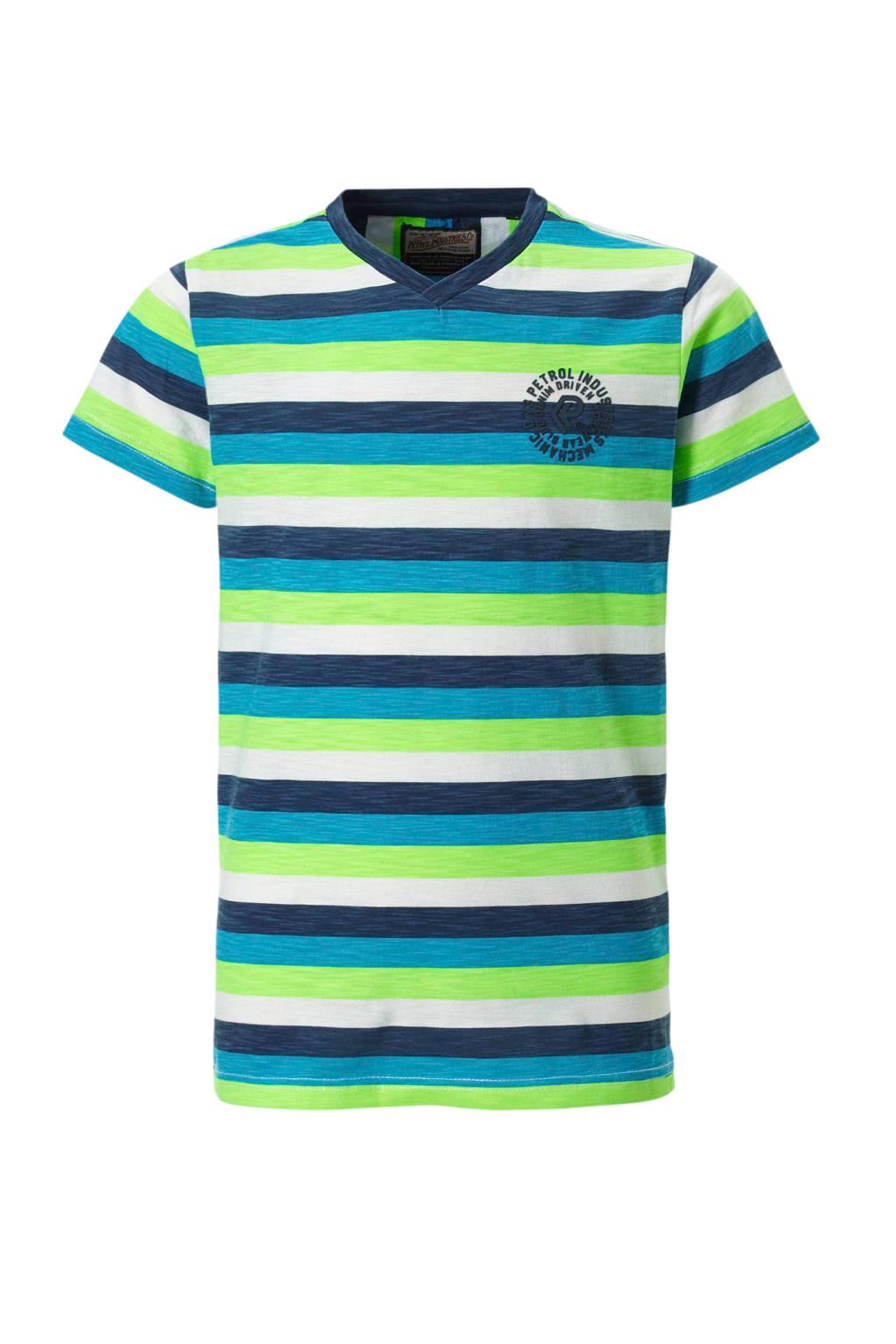 Petrol Industries gestreept T-shirt blauw, Blauw/lime/wit