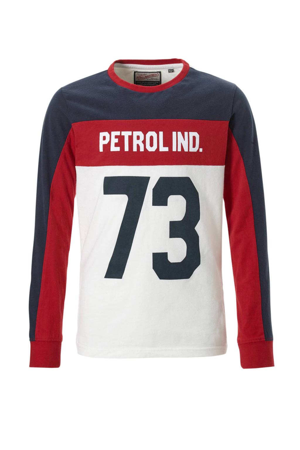 Petrol Industries longsleeve met tekst wit, wit/rood/donkerblauw