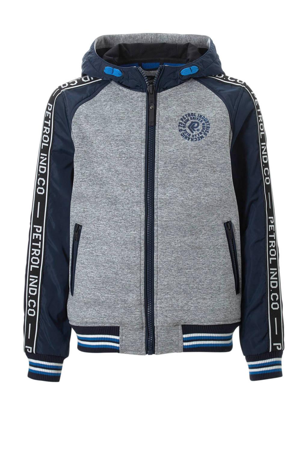 Petrol Industries zomerjas donkerblauw/grijs, Donkerblauw/grijs melange