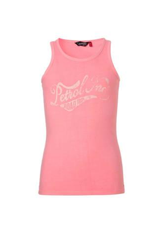 mouwloos T-shirt met logo roze