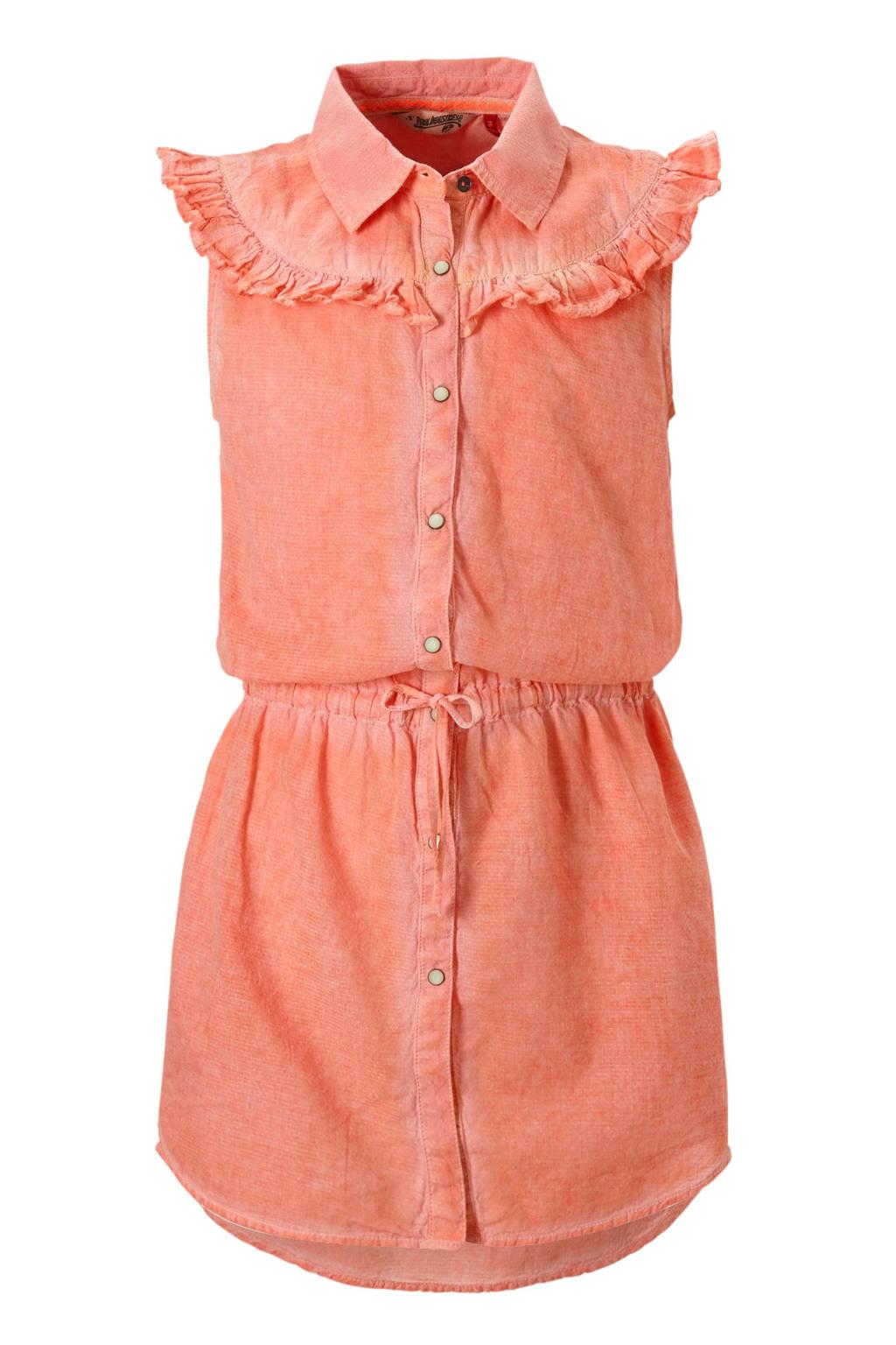 Petrol Industries mouwloze jurk met aantrekkoord en ruches oranje, Oranje