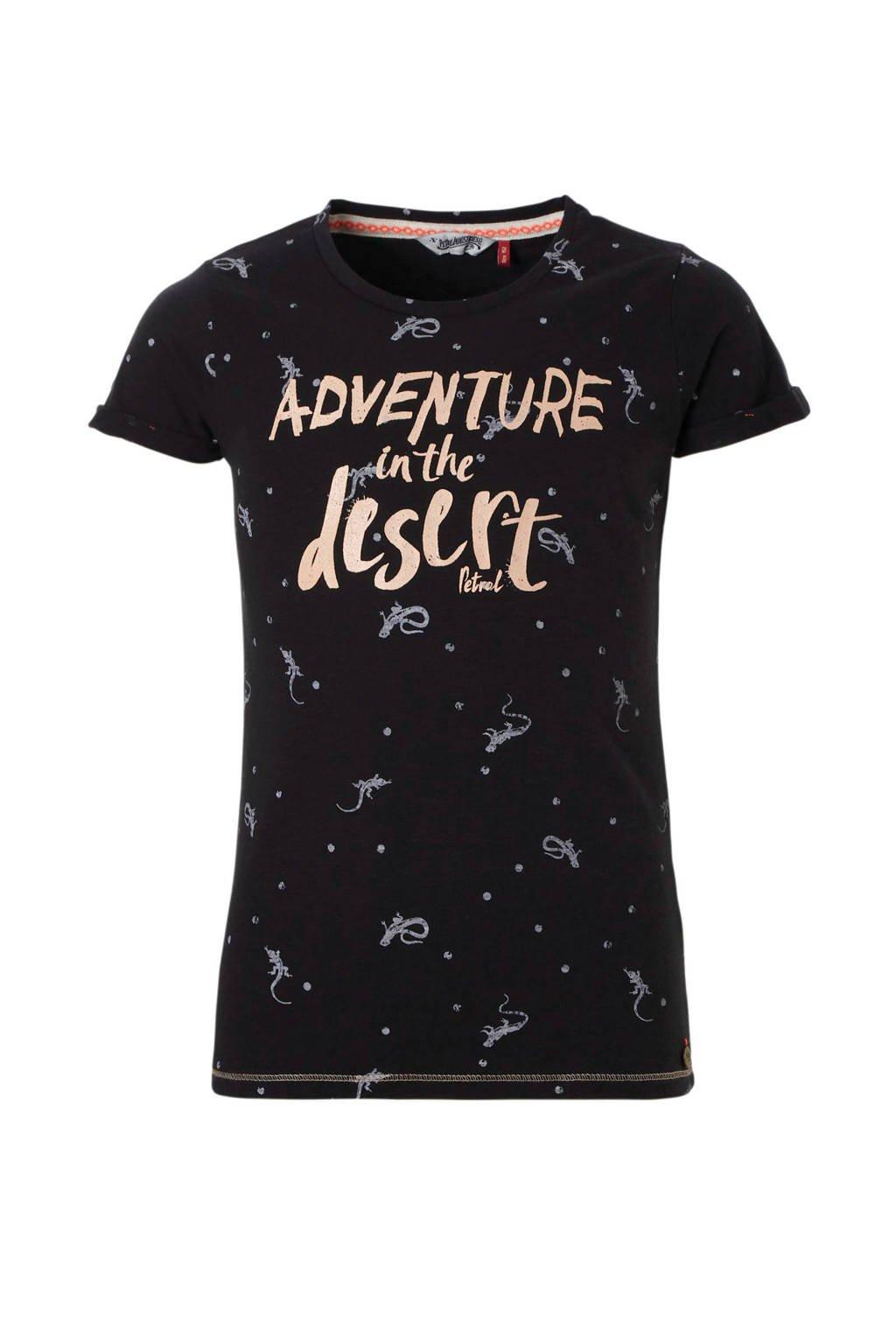 Petrol Industries T-shirt met tekst zwart, Zwart/roze