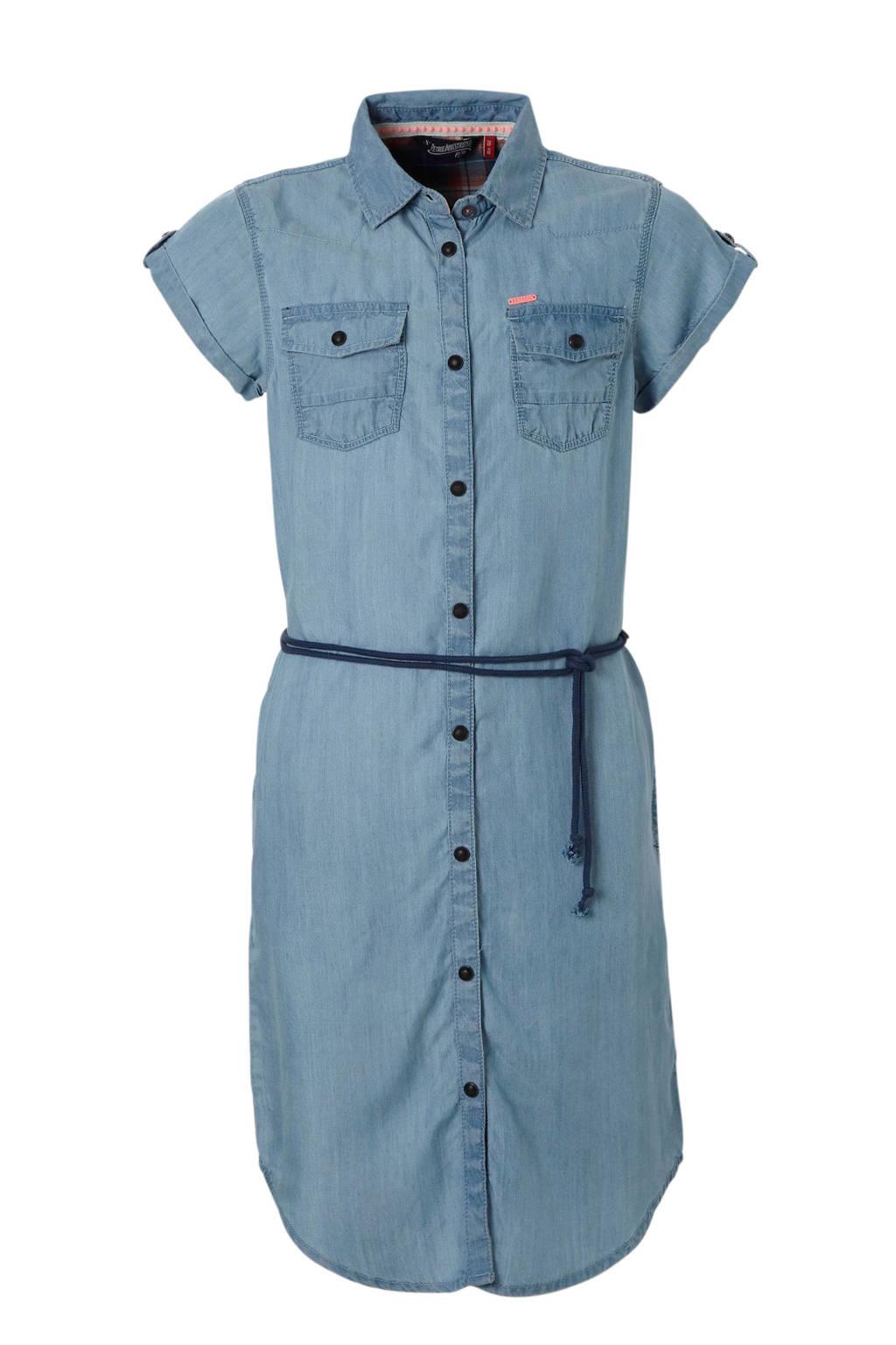 Petrol Industries denim look jurk met koord blauw, Blue denim