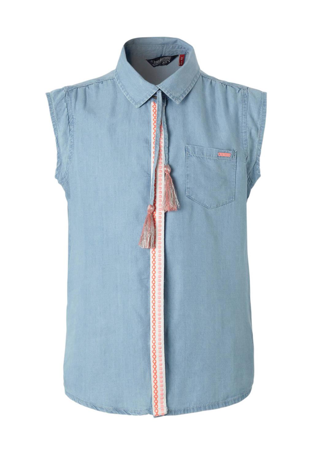 Petrol Industries mouwloze denim blouse met sierbies, Lichtblauw