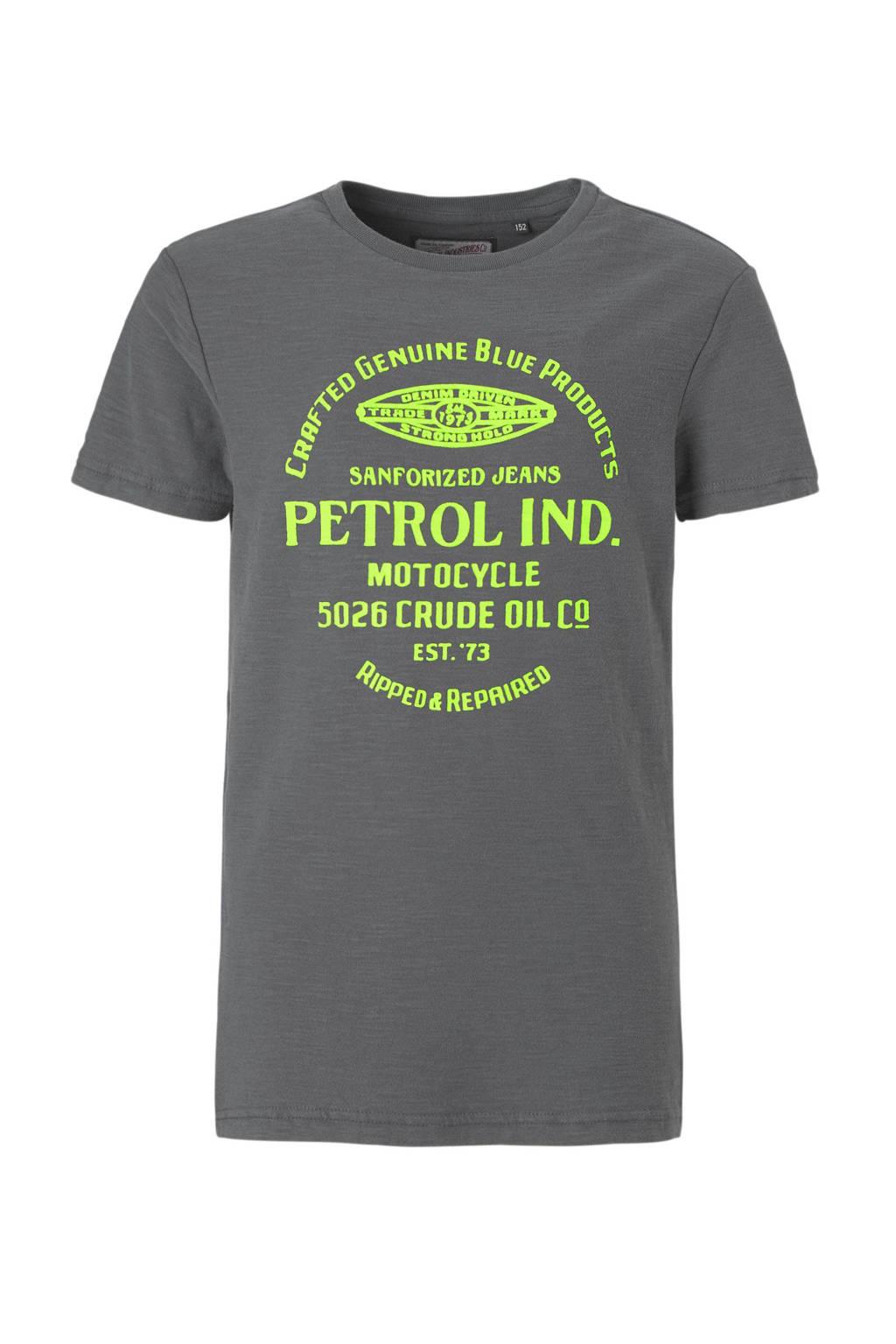 Petrol Industries T-shirt met print donkergrijs, Donkergrijs