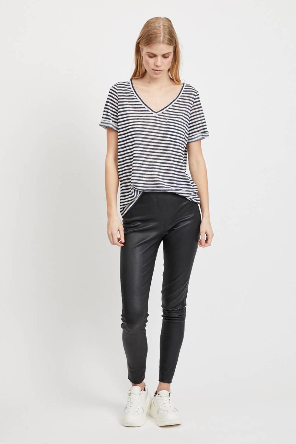 OBJECT T-shirt met borstzak, Wit/donkerblauw