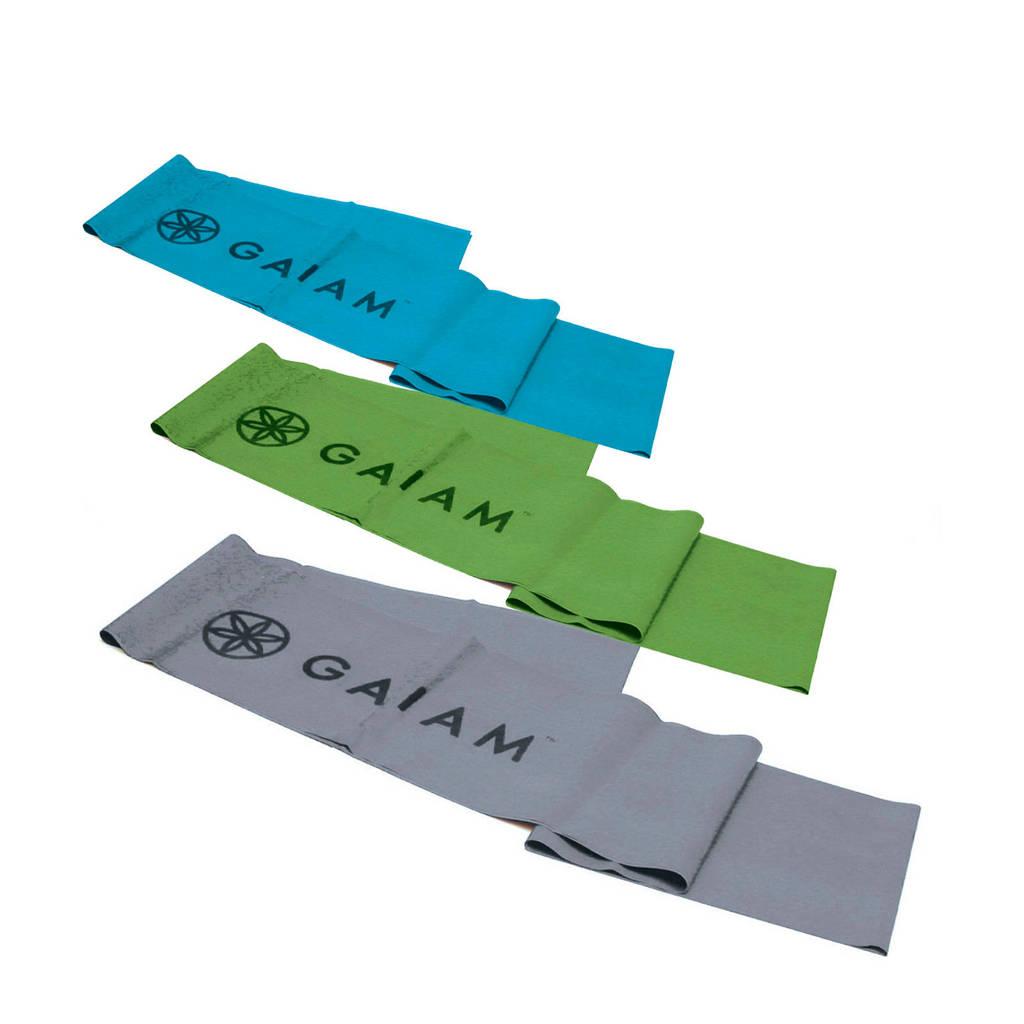 Gaiam Weerstandsbanden - Restore strength & flexibility kit (set van 3), Blauw/groen/grijs