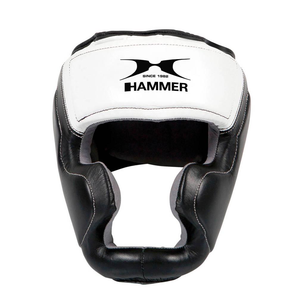 Hammer Boxing Hoofdbeschermer Sparring - leer - S/M, Zwart/wit