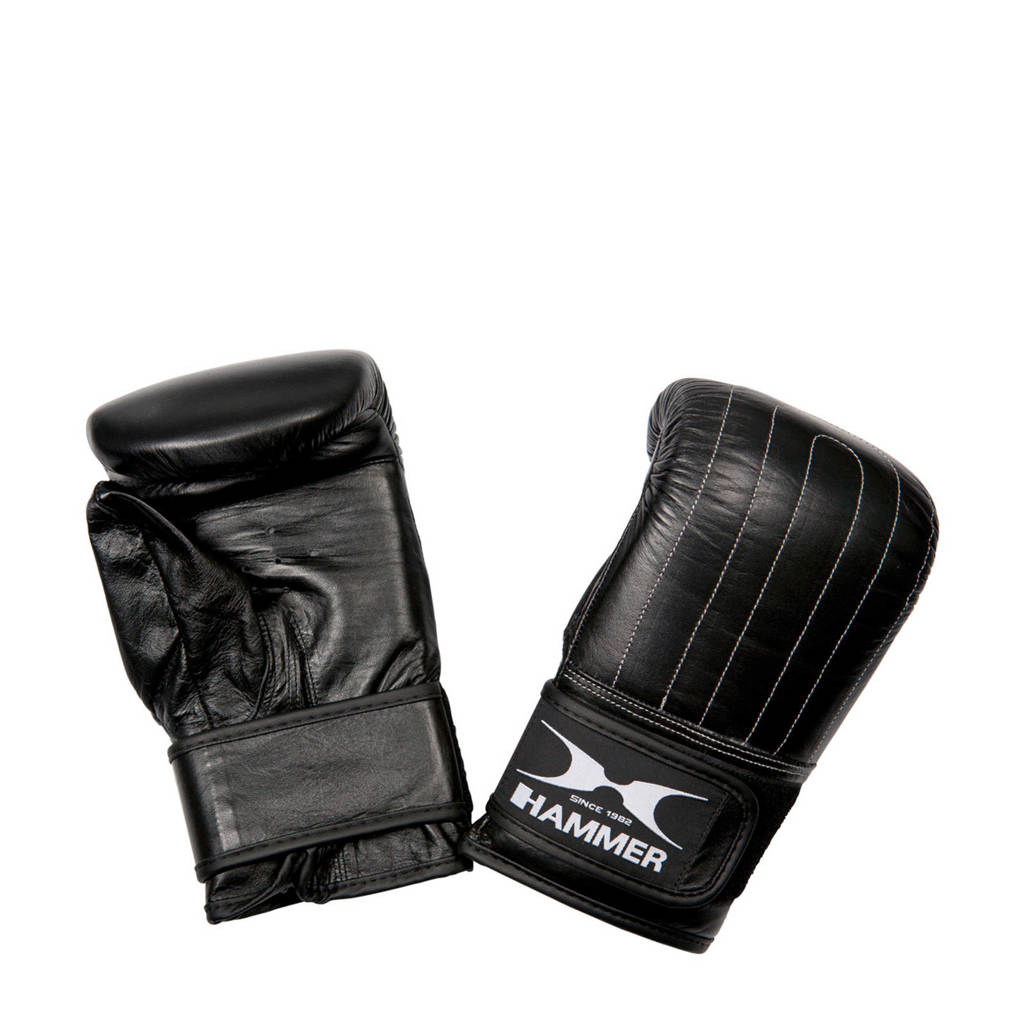 Hammer Boxing Zakhandschoenen Punch - Leer - Voorgevormd, Zwart/wit