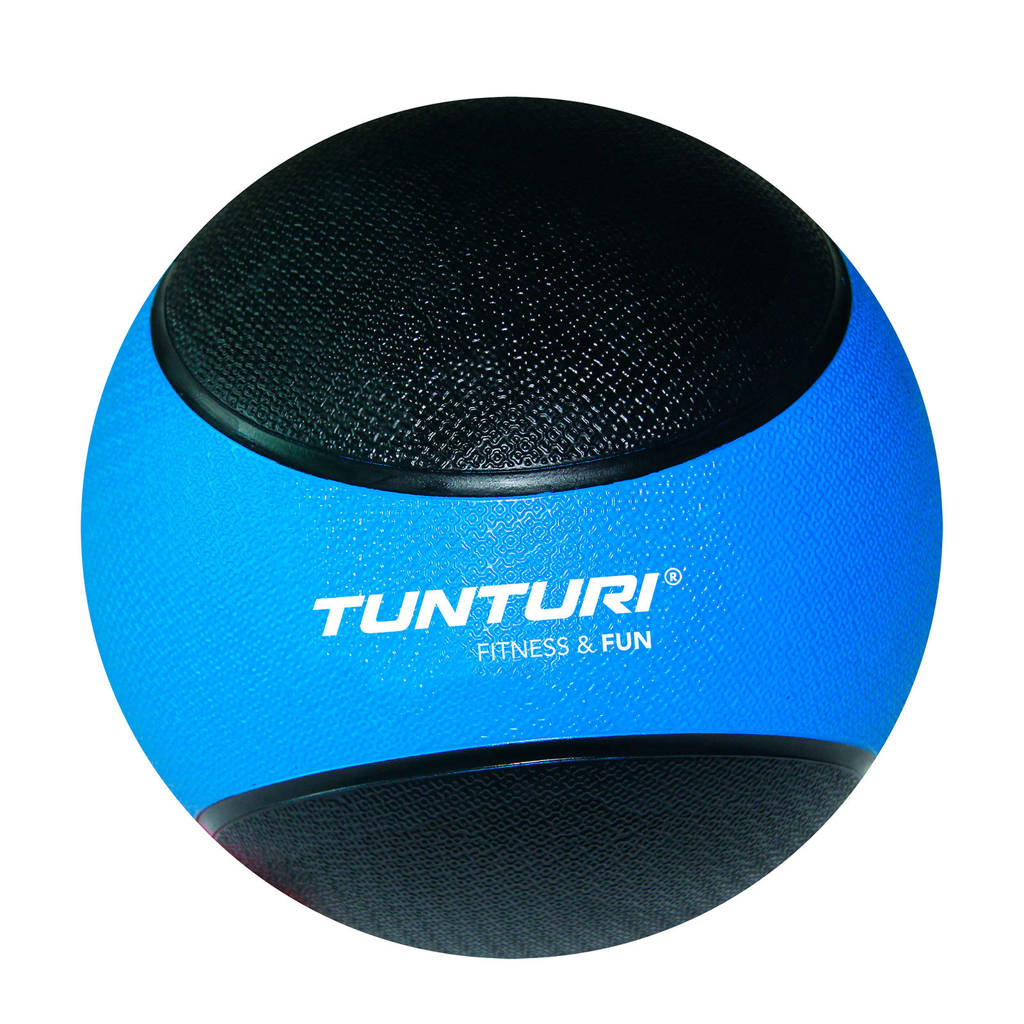 Tunturi Medicine Ball / Crossfit ball - 4 kg - Blauw/Zwart Rubber