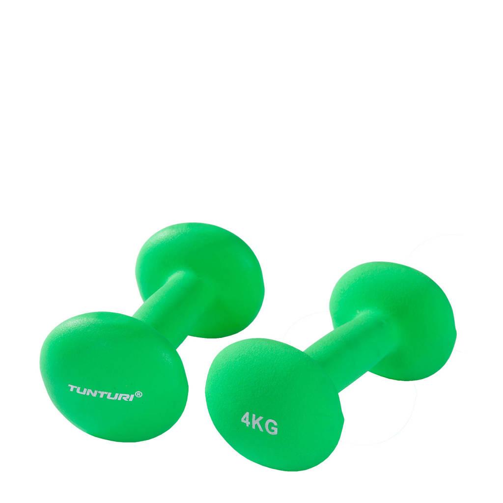 Tunturi Dumbbells - 2 x 4,0 kg - Neopreen - Fluor Groen
