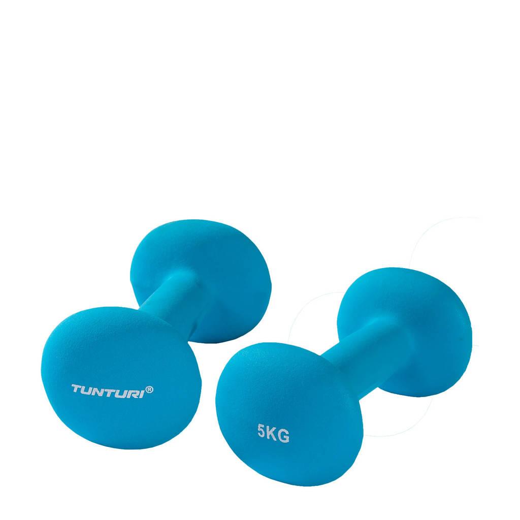Tunturi Dumbbells - 2 x 5,0 kg - Neopreen - Fluor Blauw
