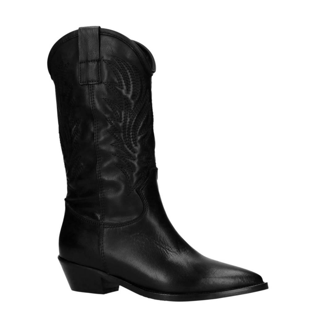 Sacha leren cowboy laarzen zwart, Zwart
