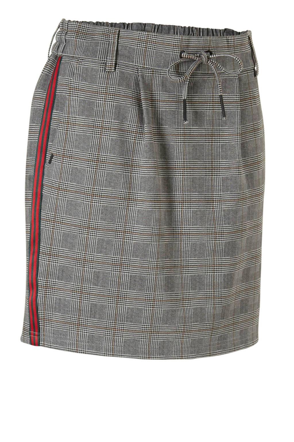 ONLY rok met print en zij strepen, Grijs/rood