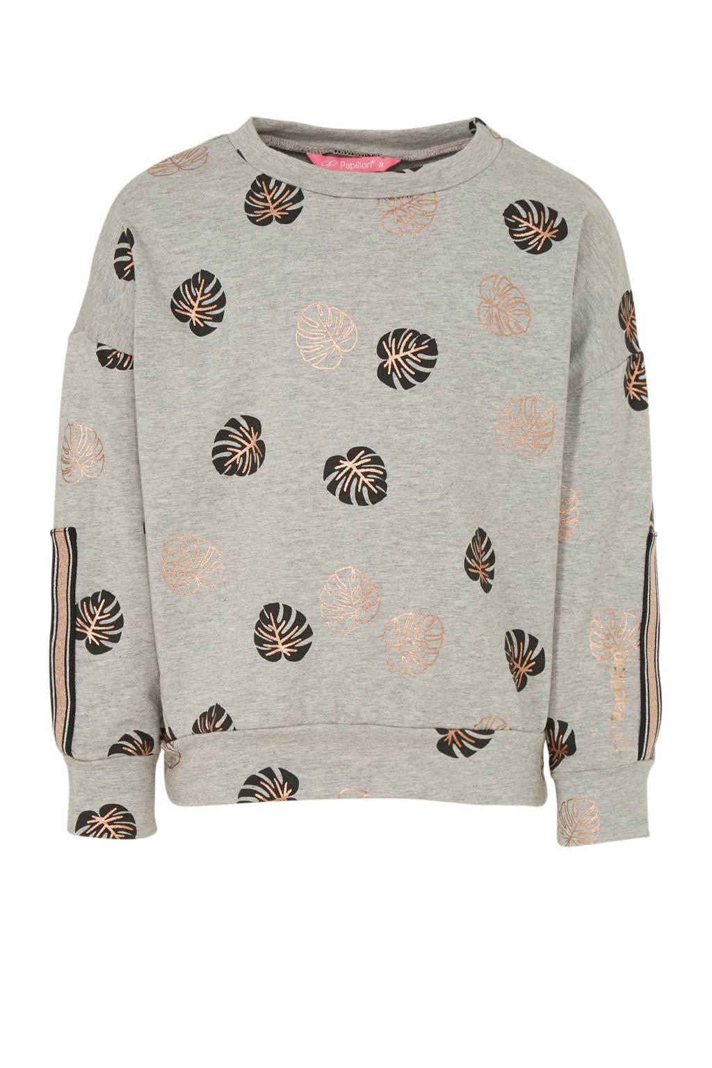 Papillon sportsweater blaadjes grijs/zwart/koper