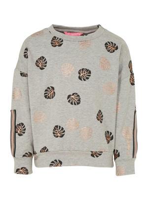 sportsweater blaadjes grijs/zwart/koper