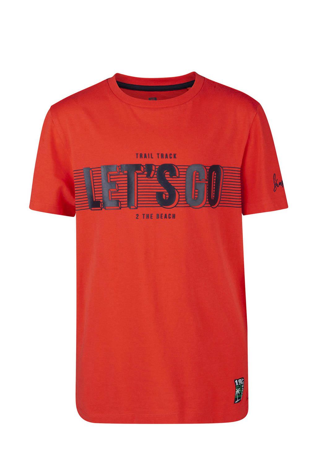WE Fashion T-shirt met tekstopdruk rood, Rood