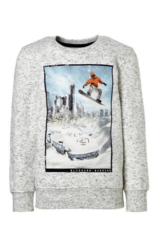 Here & There sweater met printopdruk grijs