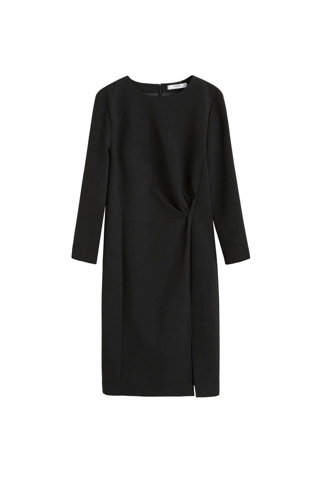 Mango straight fit jurk zwat, Zwart