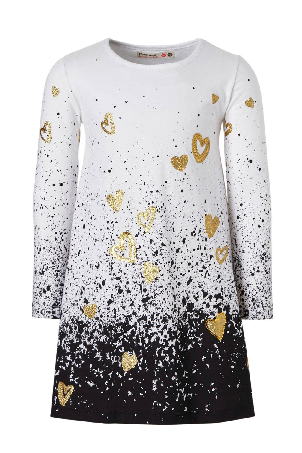 490c9a6a1a1f59 Desigual jurk met print en gouden harten