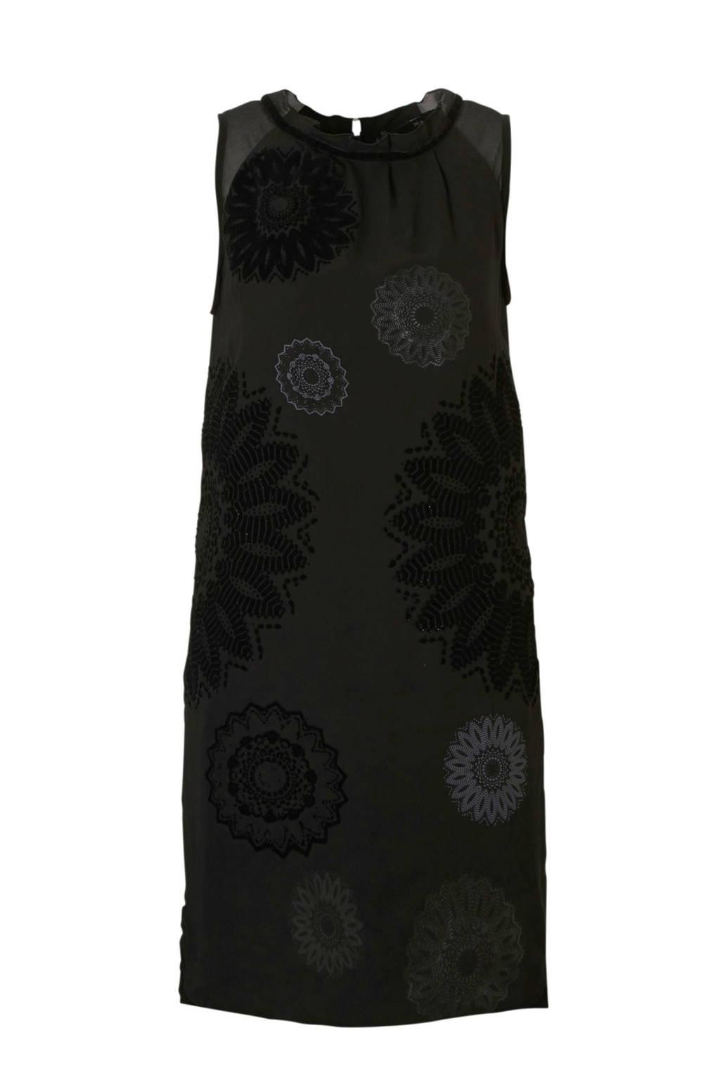 Desigual jurk met fluweel zwart, zwart/ grijs