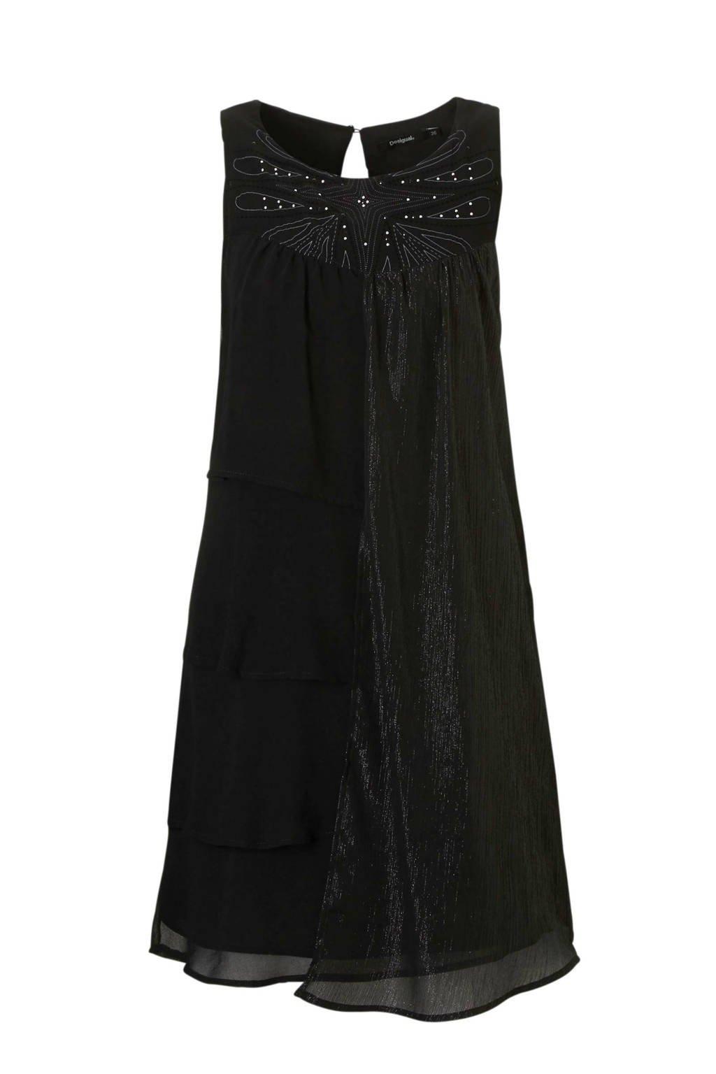 Desigual jurk met studs zwart, zwart/ zilver