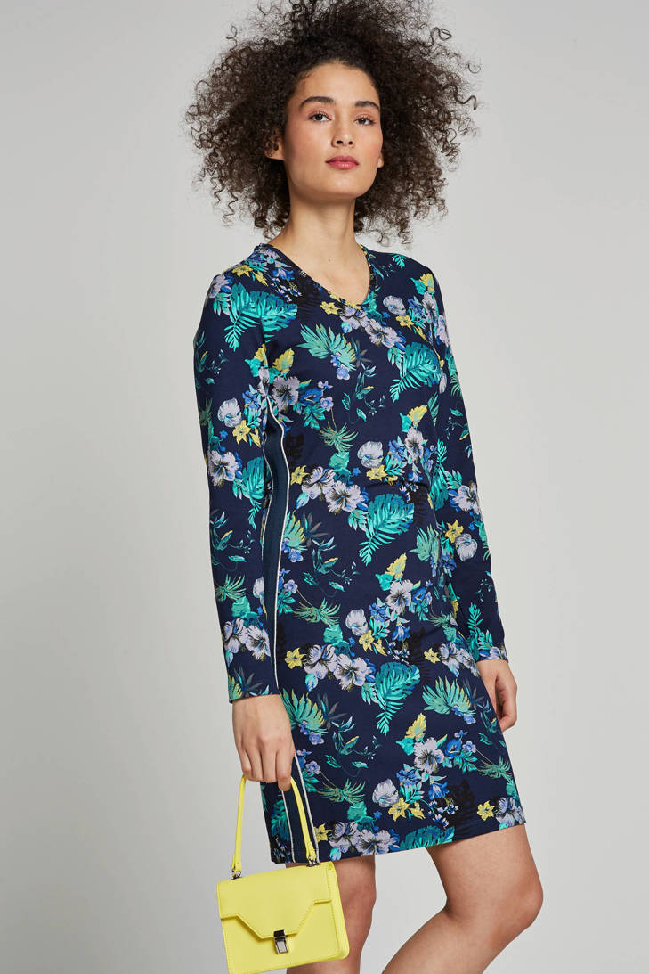 blauw met Tramontana bloemenprint jurk jurk Tramontana wqaf4xX