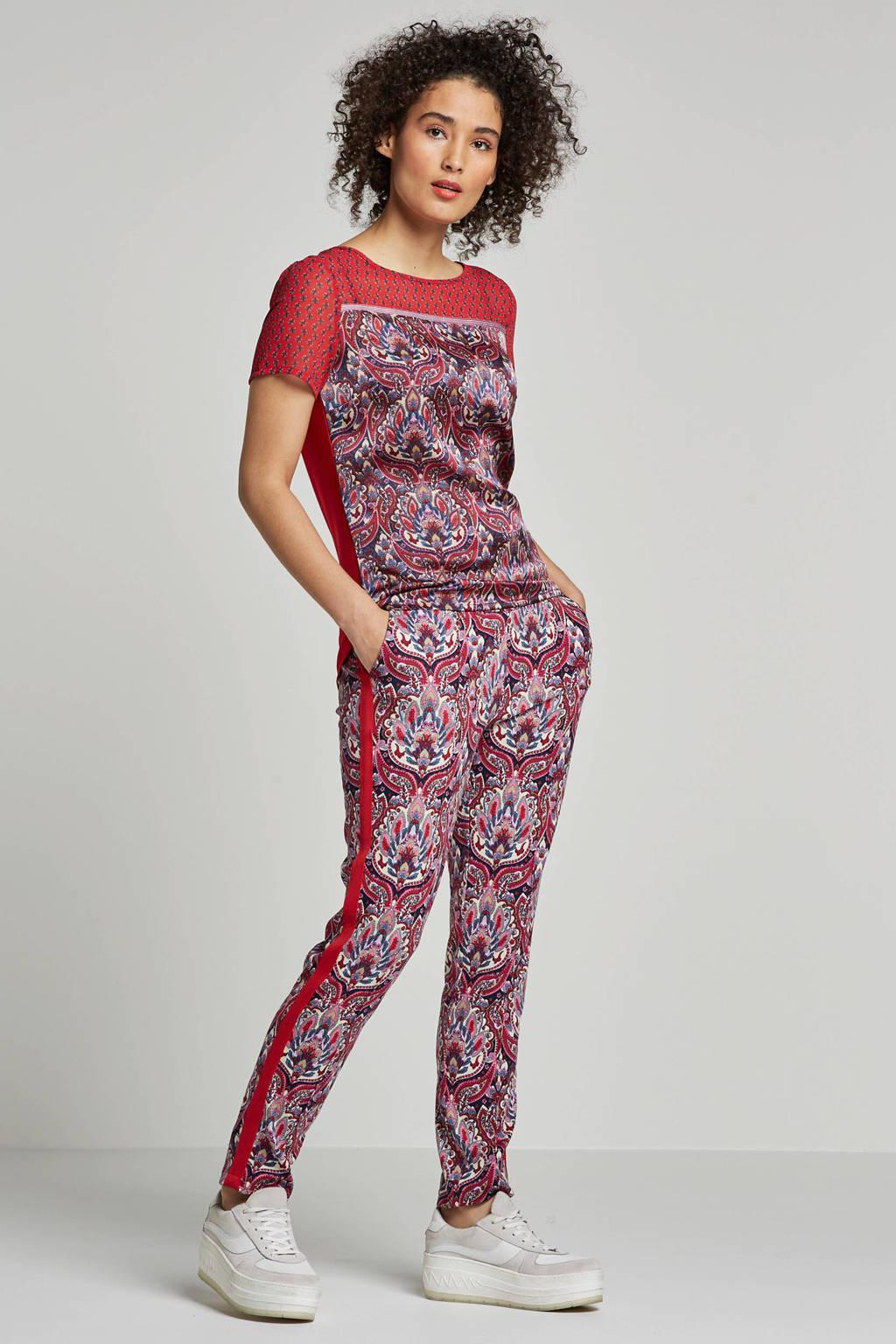 Tramontana slim fit broek met all over print rood, Rood