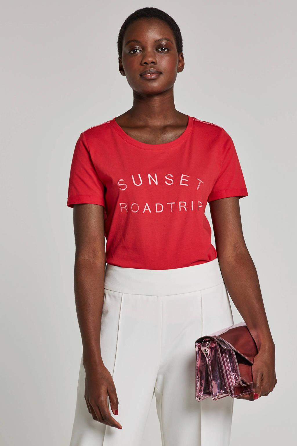 Tramontana T-shirt met borduursel rood, Rood