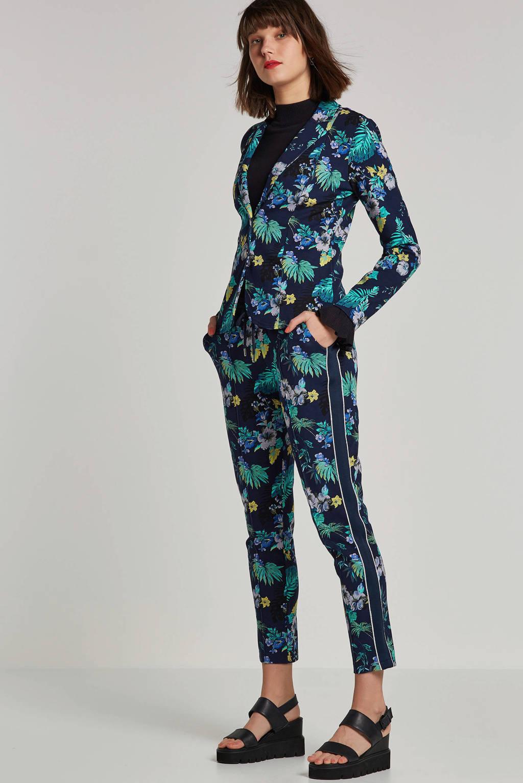 Tramontana slim fit broek met bloemenprint blauw, Blauw