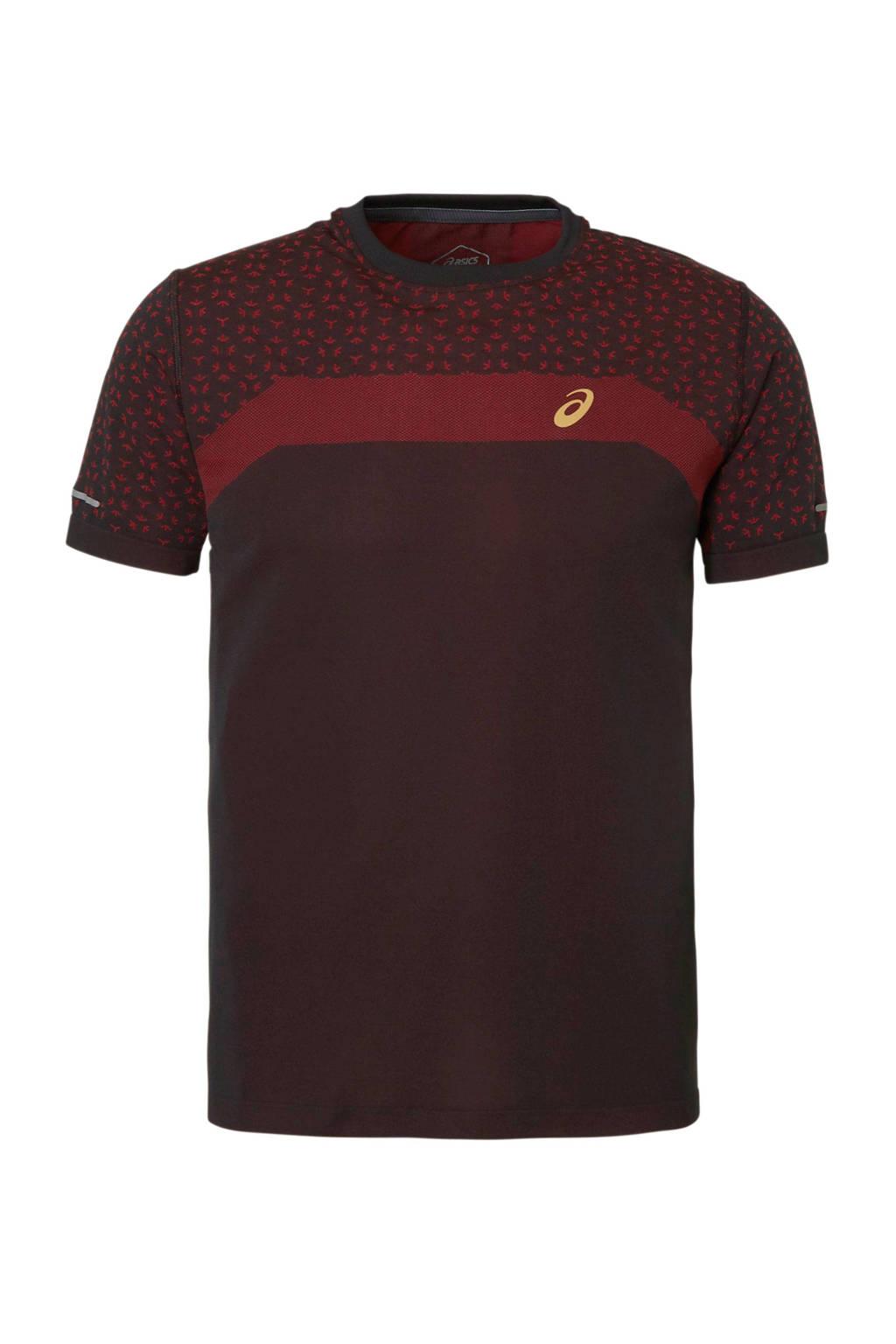 ASICS   hardloop T-shirt donkerrood, Rood