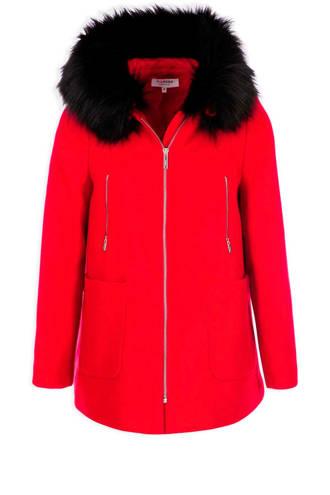 asymmetrische coat met wol rood