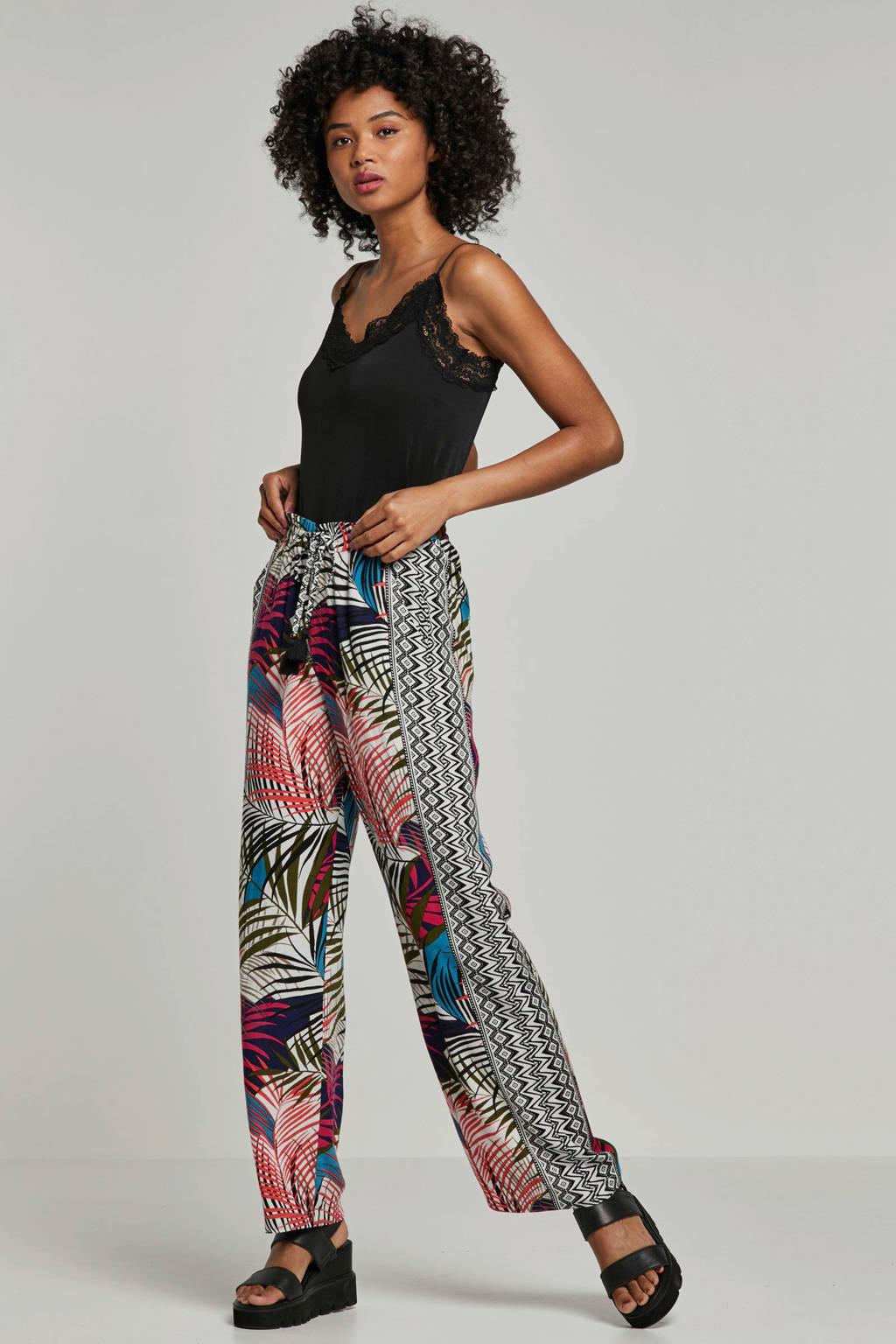 whkmp's beachwave palazzo broek met all over print ecru/zwart/roze, Ecru/zwart/roze