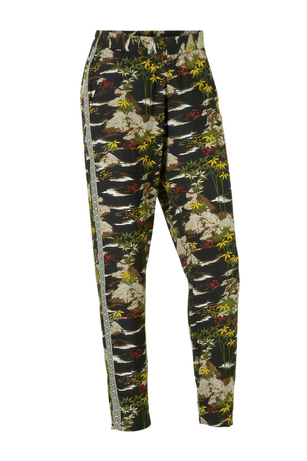 whkmp's beachwave broek met print en zijnaadbies, Zwart/groen
